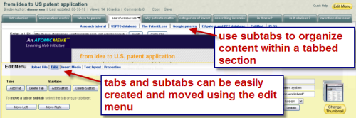 illustrates creating tabs and subtabs